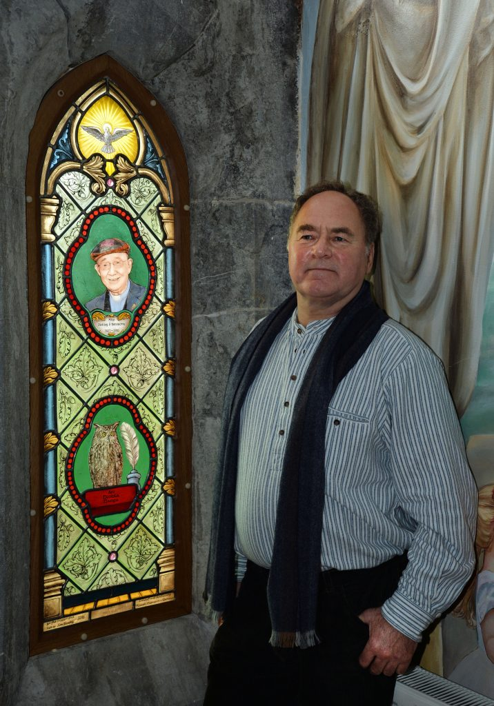 Michael Elsemann with new stained glass window